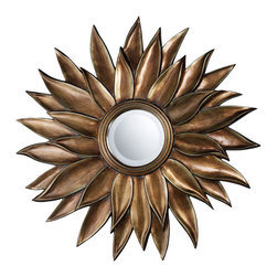 Sterling Industries - Prentiss Mirror In Stonyford Gold - The Prentiss Mirror In Stonyford Gold is a wonderful example of a round flower shaped mirror.  The frame is made of cast resin, with a wonderful antique gold finish.
