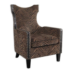 Uttermost - Uttermost Kimoni Armchair in Golden Brown - Styled with an exotic high back and curved rear legs, this chair features plush stripes with black cording and side trim, double row nail head detail and ebony stained wood. Hardwood construction with removable seat cushion. Light assembly.