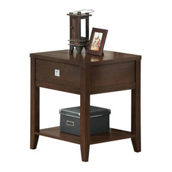 Baxton Studio - Baxton Studio New Jersey Brown Wood Modern End Table - Successfully pull together all the elements of your living area with our New Jersey End Table! This is a basic but stylish contemporary side table with one drawer and a bottom shelf. Pulling inspiration from the straight line-based forms of squares and rectangles, a modern look is achieved to simplify your space. The table is made with particleboard and an overlaid rubber wood veneer with a deep brown finish. A silver drawer pull completes the design. To clean, wipe with a dry cloth. Made in Malaysia. also available is a matching coffee table, nesting table set, and TV stand (each sold separately).