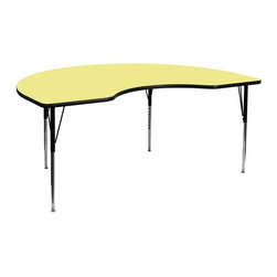 Flash Furniture - Flash Furniture Accent Table X-GG-A-T-LEY-YNDIK-6984A-UX - Flash Furniture's XU-A4896-KIDNY-YEL-T-A-GG warp resistant thermal fused laminate kidney activity table features a 1.125'' top and a thermal fused laminate work surface. This Kidney Shaped Laminate activity table provides an extremely durable (no mar, no burn, no stain) work surface that is versatile enough for everything from computers to projects or group lessons. Sturdy steel legs adjust from 21.125'' - 30.125'' high and have a brilliant chrome finish. The 1.125'' thick particle board top also incorporates a protective underside backing sheet to prevent moisture absorption and warping. T-mold edge banding provides a durable and attractive edging enhancement that is certain to withstand the rigors of any classroom environment. Glides prevent wobbling and will keep your work surface level. This model is featured in a beautiful Yellow finish that will enhance the beauty of any school setting. [XU-A4896-KIDNY-YEL-T-A-GG]