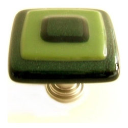 Uneek Glass Fusions - Aventurine and Olive Green Glass Knob - Collection: Strato