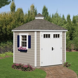 Homeplace Colonial Garden Shed - Store equipment and tools in the beautiful Homeplace Colonial Garden Shed. Featuring authentic German-style pinewood siding this shed is a decorative addition to any yard. Strong and sturdy solid wood double doors makes it easy to bring large items in and out while the shatter-proof vinyl window in each door allows light in. One large aluminum slider window with screens shutters and a flower box not only allows air in but also adds a colorful touch. Arriving at your home unfinished you'll be able to paint this shed the perfect color to match your home. A limited 10-year warranty is included. Additional Features Unfinished design allows you to paint to your taste Perfect for storing tools and equipment 10-year limited warranty About SunbeamSunbeam is an American company with a long history in producing electric home appliances. For over 100 years they've been a trusted source for household items with a rich history starting in 1893. Sunbeam creates essential kitchen items handy garment care products cozy bedding and smart health and home solutions. They are now a part of the Jarden Corporation family.