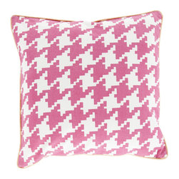 Surya - Houndstooth, Hot Pink, 1818 Pillow - This pillow design adds flair to the popular houndstooth design. With a solid contrast welting contrasting against the pattern, this pillow can spice up any room. Made of 100% cotton and comes in seven colors and three sizes.