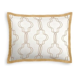 Tan Embroidered Moroccan Trellis Custom Sham - Stay classy, America!  Add a few Tailored Shams with crisp solid edging to create a bedset with the perfect mix of contemporary style and classic elegance. We love it in this classic Moroccan-inspired trellis embroidered in golden tan and pale vanilla on super soft lightweight cream linen blend.
