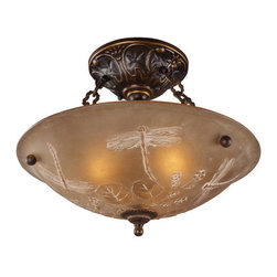 ELK Lighting - ELK Lighting 08096 Restoration Three-Light Semi-Flush Ceiling Fixture - A Grouping Of Ceiling Lighting Developed With A Discriminating Concern For Preserving Historic Lighting And Architectural Designs.This Offering Of Expert Restoration And Replication Fixtures Is Offered In A Wide Variety Of Styles And Sizes.Specifications: