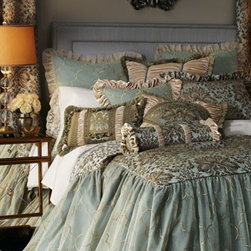 """Isabella Collection by Kathy Fielder - Isabella Collection by Kathy Fielder Velvet European Sham - Blue and gold layers of beauty. Made in the USA of polyester fabrics and silk/rayon velvet. From Isabella Collection by Kathy Fielder. Dry clean. Skirted coverlets have embroidered sheer overlay with 30"""" drop. Dust skirts have a 20"""" drop. Pillows ha..."""