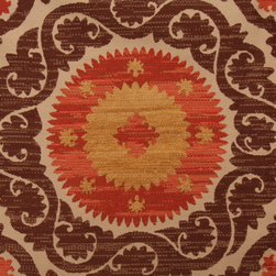 Richloom Denholm Suzani Tapestry Upholstery Fabric, Cinnamon - This Suzani tapestry fabric is perfect and available by the yard. Choose your size, and create the wall hanging of your dreams.