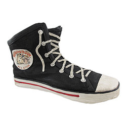 Zeckos - All Star Canvas High Top Sneaker Planter Black - Add a unique touch to your garden with this all star planter Made of cold cast resin, it looks like a popular canvas high top sneaker and can accommodate a 4 inch diameter plant. The shoe measures 12 1/2 inches long, 7 1/2 inches tall, and 7 inches wide. It is highly detailed, from the texture of the canvas and shoelace to the white circular emblem displaying the 'Toad Hollow All Star' brand. It makes a great housewarming gift, and is sure to get a second glance displayed as a pair