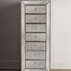 """Horchow - Shilo Lingerie Chest - Mirrored lingerie chest offers plentiful storage dressed in retro, Hollywood glamour. Made of select hardwoods and mirrored glass. Silver-leaf finish. Seven drawers. 24""""W x 18""""D x 61""""T. Imported. Boxed weight, approximately 187 lbs. Please note...."""
