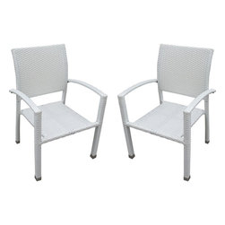 Modway - Modern Patio Furniture Bella Dining Chair Set of 2, White - Relax in confidence, as you effortlessly unite diverse forces to take center stage. Wealth and success surround you and draw attention to greater heights. This outdoor wicker dining chair has a sturdy aluminum frame covered with an espresso rattan weave.