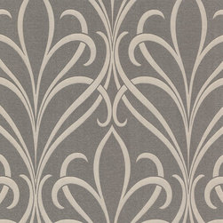 Brewster Home Fashions - Lalique Brown Nouveau Damask Wallpaper Swatch - An inspiring art nouveau wallpaper with a contemporary twist. Mica dusted espresso brown and polished pearl pewter add glamour to this curvaceous design.