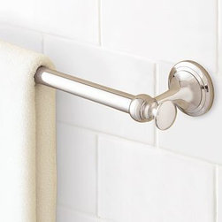 "Mercer Towel Bar, 18"", Polished Nickel finish - Part of our most popular bath collection, the Mercer Towel Bar is available in a choice of four beautiful finishes, so you can give the whole bath a coordinated look.Crafted of drop-forged brass, then thickly plated for strength.See available finishes below.Sealed with a clear protective lacquer.Mounting hardware included. View our {{link path='pages/popups/fb-bath.html' class='popup' width='480' height='300'}}Furniture Brochure{{/link}}."