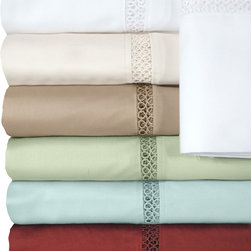 Veratex - Grand Luxe Payton Egyptian Cotton Sateen Deep Pocket 500 Thread Count Sheet Set - These 500-thread-count bed sheets are made of Egyptian cotton,which provides the utmost in comfort and warmth. The fitted sheet is fully elasticated,and their solid color pattern makes them easy to match. These sheets are machine-washable.