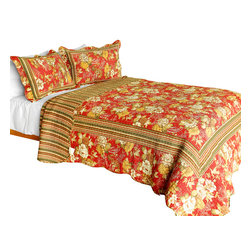Blancho Bedding - [Time Jumper] Cotton 3PC Vermicelli-Quilted Floral Printed Quilt Set Full/Queen - Set includes a quilt and two quilted shams (one in twin set). Shell and fill are 100% cotton. For convenience, all bedding components are machine washable on cold in the gentle cycle and can be dried on low heat and will last you years. Intricate vermicelli quilting provides a rich surface texture. This vermicelli-quilted quilt set will refresh your bedroom decor instantly, create a cozy and inviting atmosphere and is sure to transform the look of your bedroom or guest room. Dimensions: Full/Queen quilt: 90 inches x 98 inches  Standard sham: 20 inches x 26 inches.