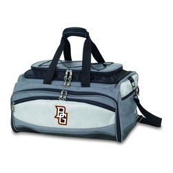 "Picnic Time - Bowling Green State University Buccaneer Cooler And Barbecue Set - The Buccaneer is a Picnic Time original design and the ultimate tailgating cooler and barbecue set in one! Don't be fooled by other similar looking items on the market. Only Picnic Time's Buccaneer features a PVC cooler that conveniently nests inside the compartment that houses the portable BBQ. The tote can carry the BBQ and a fully-loaded cooler at the same time! This patented, innovative design features a large insulated and fully-removable, water-resistant cooler that measures 16 x 8 x 7"" and holds up to 24 12-oz soda cans. Unzip the cooler from the main tote to access the portable charcoal barbecue grill that's included. The cooler has two carry straps on either side, and features a mesh pocket on the interior lid that fits a large ice pack/gel pack. The Buccaneer also features an adjustable shoulder strap with comfort pad, a reinforced waterproof base, three large zippered exterior pockets to store personal effects, padded carry handles, and a stretch cargo cord on the top of the tote to carry a blanket or towel. Included in the tote are: 1 portable charcoal BBQ grill with lid (16.7 x 10.8 x 5.1""), one black drawstring bag to hold the grill, and three stainless steel tools with aluminum handles and non-slip thumb grips: 1 large spatula featuring a built-in bottle opener, grill scraper, and serrated edge for cutting, 1 pair of tongs, and 1 BBQ fork. Don't be caught without the Buccaneer at your next tailgating party!; College Name: Bowling Green State University; Mascot: Falcons; Decoration: Embroidered; Includes: 1 BBQ grill with lid 1 Large spatula with serrated edge 1 Pair tongs 1 BBQ fork 1 Removable, insulated cooler tote"