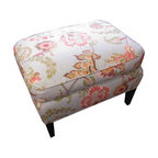 Upholstery Projects - Ottoman upholstered in floral print.