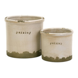 Parsley Herb Pots - Set of 2 - Perfectly sized, this set of two parsley herb pots is made of red clay and kiln fired to perfection. Finished in a white crackle glaze, rough edges are purposely exposed to add character.
