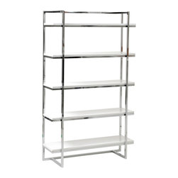 Eurø Style - Gilbert 5-Shelf Unit in White and Chrome - This Gilbert 5-Shelf Unit in White and Chrome by Eurø Style will offer ample space for your office supplies. It features high gloss lacquered MDF shelves and chromed steel frame.