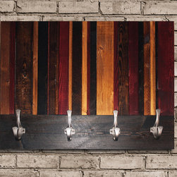Vertical Stained Coat Hook - Modern Wood Wall Art Sculpture Vertical Provincial, Cherry, Ebony, and Golden Oak Stripe Coat Hanger approximately 25.5 x 19.5""