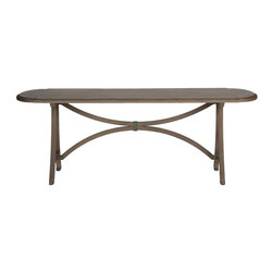 Gabby - Gabby Oliver Dining Table - Materials: Oak, iron, metal inlayFinish: Mocha OakWe created a uniquely shaped tabletop to add a vintage modern dining table. The oak top has a metal inlay circling the edge for additional detail. Beautifully curved finishes on the base add to the timeless of the piece. Table measures 86.5 inches in length and 39.5 inches in width.
