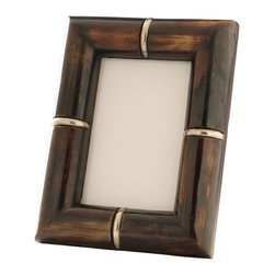 Foreign Affairs Home Decor - Horn Photo Frame GAYA, Dark Brown Horn with Silver Accents - Dark brown horn combined with silver accents make this beautiful picture frame a standout in your photo gallery.