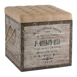 """Aidan Gray - Aidan Gray Furniture Storage Cube - Inspired by vintage crates, this storage cube by Aidan Gray is constructed from reclaimed wood with distressed metal accents. Its tufted burlap-wrapped top makes it an ideal ottoman and removes for access to storage. Rustic details like woven rope handles and a French typographic design complete its aged look. Handcrafted with slight variations for a one of a kind look.  Cube measures 18"""" square."""