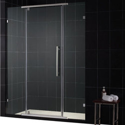 DreamLine - DreamLine SHDR-21467610-04 Vitreo 46 1/8in Frameless Pivot Shower Door, Clear 3/ - The Vitreo shower door showcases a completely frameless design for the luxurious look of custom glass at an incredible value. The elegant pivot mechanism provides a flawless operation, while premium 3/8 in. thick tempered glass delivers a rich look. Give your bathroom renovation a style infusion with the effortlessly fluid look of a Vitreo frameless shower door. 46 1/8 in. W x 76 in. H ,  3/8 (10 mm) thick clear tempered glass,  Chrome or Brushed Nickel hardware finish,  Frameless glass design,  Out-of-plumb installation adjustability: No,  Pivot shower door with full length magnetic door latch ,  wall mount brackets for stationary glass panels,  Precise width measurement of finished opening required,  Designed to be installed against finished walls,  Door opening: 23 1/4 in.,  Stationary panel: Two 9 3/8 in. panels