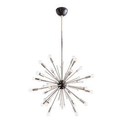 Imogene Small Chandelier - Add high drama to a breakfast nook or entryway � or even a bedroom, if you have daring uptown taste � by using the Imogene Small Chandelier as the center of your lighting plan.  This hanging light's transitional starburst design arranges twenty-four bulbs around a sphere of iron rods, throwing bright light in every direction and gleaming with exuberant, bold composition.