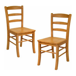 Winsome Wood - Winsome Wood Set of 2 Ladder Back Chair, RTA X-23243 - The simple and straight forward, yet classic look of these ladder back chairs allow them to be used with a variety of decors from country to contemporary. Their design and light oak finish pair up well with our 34130 Light Oak Finish, Square Dining Table