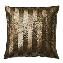 Sequin Stripe Pillow Cover, Gold - Add a touch of gold to a sofa, chair or daybed with this sequined throw pillow.