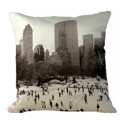 Tempo Luxury Home - Skating Away Pillow from the Winter Park Collection by Joe Ginsberg - A flurry of action beneath a snow-kissed horizon. Skyscrapers hug the park in a festive embrace. The perfect urban accent for a favorite sitting area or living room. Skating Away is printed on raw silk taffeta; velvet-textured, shimmering metallic backing in Twilight. Fill: 75% goose down; 25% feather. Each pillow from the Winter Park Collection is made to order and has an approximate lead-time of three weeks.