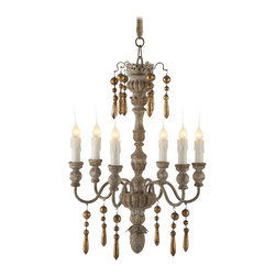 Aidan Gray - Aidan Gray Grenoble Chandelier L279 CHAN - The Grenoble Chandelier would not be complete without its black gold-lined shades! The gold lining on the inside of the shades help balance the gold dangles that adorn the arms. Chipped Creams found along the hand-carved center pole glow warmly when this chandelier is lit. If black is not your color of choice, we've included a set of linen shades for you as well.
