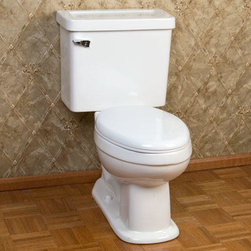 Halkett Two-Piece Toilet - The Halkett toilet has a simplistic design on the tank and bowl that will complement any bathroom. Pair with your choice of toilet seat, sold separately.