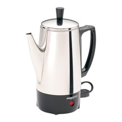 Presto - Stainless Steel Percolator - 6 Cup Stainless Steel Perk brews great tasting coffee.  Rich, hot, and fast flavorful coffee at cup-a-minute speed then keeps it piping hot automatically.  Signal light tells you when coffee is ready to serve.  Stainless Steel construction for lasting beauty and easy cleaning.
