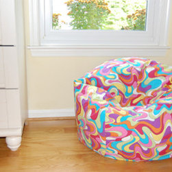 "Bean Bag Chairs for Girls Rooms - Ahh! Products Color Splash cotton bean bag chair in avocado-multi colorway. Remove and wash cover, water-repel liner. 27"" small size. 10 year warranty, Made in USA."