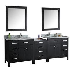 "Design Elements - Double Sink Bath Vanity Set - Design Element DEC076D-92 London 92"" Double Sink Bath Vanity Set In Espresso Finish"