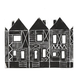 Printwork - Playful Patterns Row Houses 8 x 10 Hand-pulled Linocut Print, Black - This playful row houses print would make a great housewarming gift