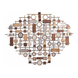 Grace Feyock - Grace Feyock Cilento Transitional Wall Art X-77721 - Features a combination of antiqued gold leaf, aged bronze leaf and antiqued silver leaf hand forged metal details with a heavy gray wash and numerous small accent mirrors.