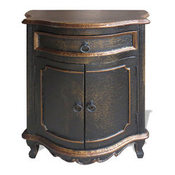 Baroque Nightstand, Black Crackle with Gold - Baroque Nightstand, Black Crackle with Gold