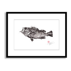 Gallery Direct - Dwight Hwang's 'Armor Clad Rockfish' Framed Paper Art, 30x23 - A nod to the traditional Japanese art of gyotaku, meant as a way to record a proud catch for fishermen, this print captures delicate detail of the actual fish. This striking print comes framed and matted with a three inch white mat. The perfect way to add character, depth and value to your room, it is printed using the highest quality materials. Arrives ready to hang.