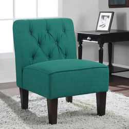 None - Tufted Peacock Slipper Chair - Add a pop of color to your sitting area with this tufted slipper chair. Covered in a beautiful peacock-green upholstery, this stylish chair features solid-wood legs for durability and non-marring foot glides to protect your flooring.