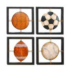 UMA - Game Time Sports Metal Wall Art Set of 4 - Four individual open design panels featuring a basketball, soccer ball, baseball and football framed in simple black with brass grids