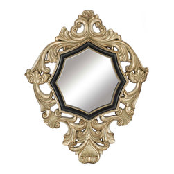 Paragon Decor - Imperial - Mirror features scrolls and leaf motifs in black and gold (mirror size 19h x 19w).