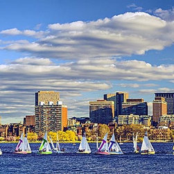 Magic Murals - Boston Back Bay Panorama Wall Mural -- Self-Adhesive Wallpaper by MagicMurals - A regatta of sail boats along the Charles River and Back Bay of Boston, Massachusetts on a bright summer day.  Stunning high definition mural of this New England city's skyline, including Hancock Place and the Prudential Tower.