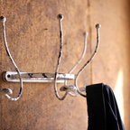 Antique White French Country Coat and Hat Rack - Wall hooks are a great way to use wall space as decorative storage. Hang coats, towels or a vintage hat from this vintage-looking rack.