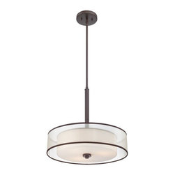 Quoizel - Votive 3-lt Pendant - A contemporary and smooth design, Votive is chic, not flashy. The organza fabric shades envelop the opal etched glass much like a candle. The brown trim on the shades enhances the Western Bronze finish perfectly.
