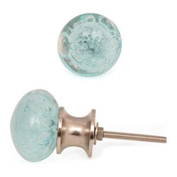 "Knobco - Glass Knob, Light turquoise - Light Turquoise Round Knob with Air Bubbles for your kitchen, bathroom cabinets and drawers. These fun glass knobs add a touch of design to your household cabinets, drawers or dressers. Cabinet knobs are approximately 1.25"" in diameter."