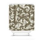 Shower Curtain Damask Scroll Swirl 71x74 Bathroom Decor Made in the USA - DETAILS: