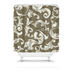 Shower Curtain Damask Scroll Swirl 71x74 Bathroom Decor Made in the USA - DETAILS: