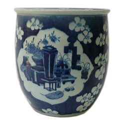 Golden Lotus - Chinese Blue & White Flower Vase Porcelain Narrow Pot Planter - This is a hand made porcelain pot in narrow tall round shape with flower and vase  blue & white color.